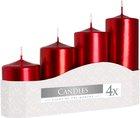 Svíčka adventní 5 x 7, 9, 11, 13 cm, 570 g - met. červená