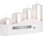 Svíčka adventní 5 x 7, 9, 11, 13 cm, 570 g - perleť bílá